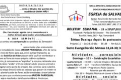 Boletim Egreja de 23 a 29/07/2017 – Paróquia do Salvador – RG
